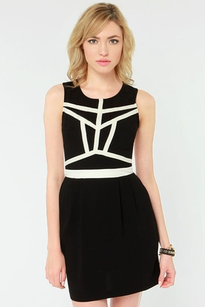 Gentle Fawn Empire Ivory and Black Dress