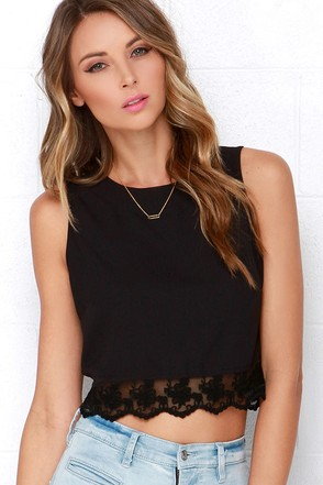 Baltic Border Black Lace Crop Top at Lulus.com!