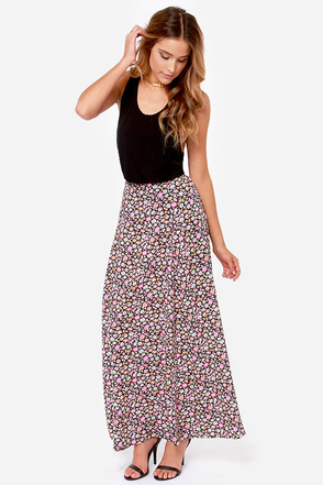 Element Eden Juliet Black Floral Print Skirt
