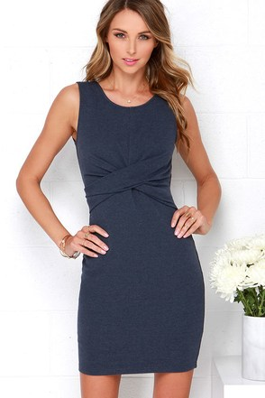 Madison Square Royal Twist Denim Blue Dress at Lulus.com!