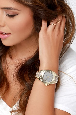 Tick, Tick, Boom Taupe and Gold Watch at Lulus.com!