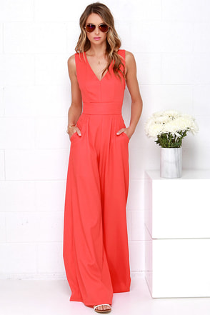 Wide Stride Coral Red Jumpsuit at Lulus.com!