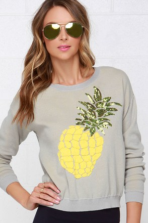 Wilde Heart Pineapple Crush Grey Sequin Sweater at Lulus.com!