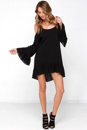 Dee Elle Go Time Black Off-the-Shoulder Dress at Lulus.com!