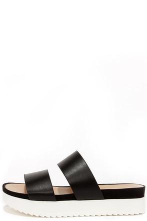 Wanted Mello Black Flatform Slide Sandals at Lulus.com!