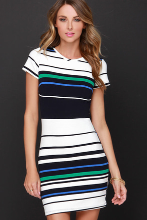 I'd Be Line Navy Blue Striped Dress at Lulus.com!