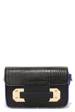 Lookin' Trim Blue and Black Purse at Lulus.com!