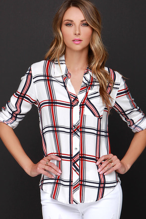 Hay Day Red and Ivory Plaid Button-Up Top at Lulus.com!