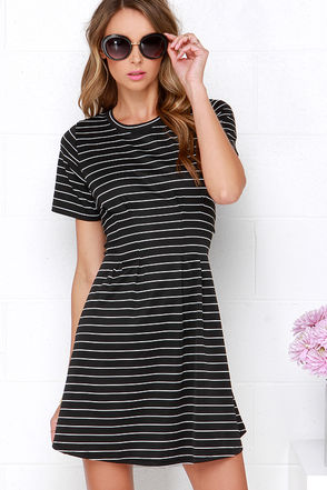 Solange Black Striped Dress at Lulus.com!
