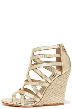 Chinese Laundry Lux Light Gold Leather Caged Espadrille Wedges at Lulus.com!