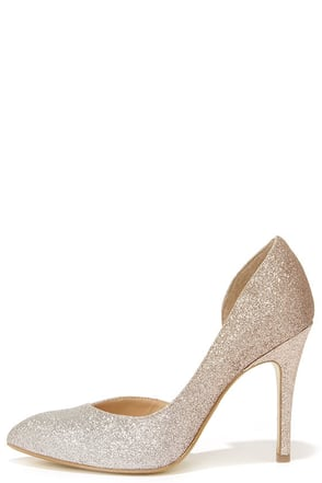 Chinese Laundry Copertina Pewter Glitter D'Orsay Heels at Lulus.com!