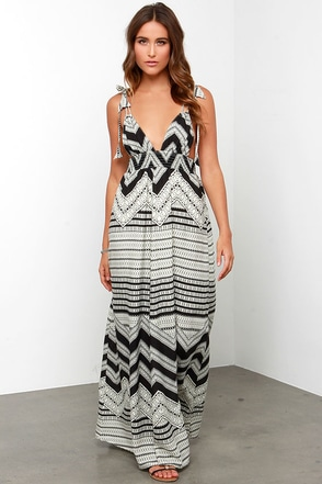 Desert Dunes Cream and Black Print Maxi Dress at Lulus.com!