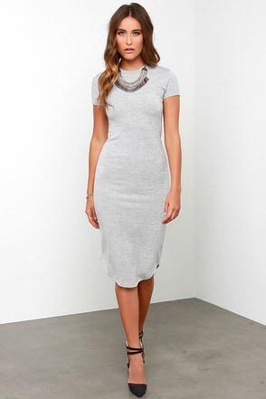 Moonlight Savings Time Heather Grey Midi Dress at Lulus.com!