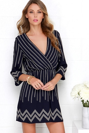 The Zig is Up Navy Blue Print Dress at Lulus.com!