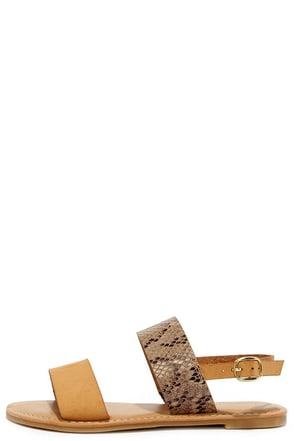 Wild Sides Natural Snakeskin Sandals at Lulus.com!