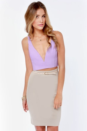 Deep Thoughts Lavender Crop Top