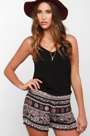 To Beach Their Own Black and Burgundy Print Shorts at Lulus.com!