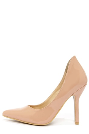 C Label Luxe 18 Nude Patent High Back Heels