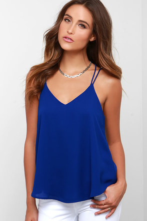 Fly By Birdie Royal Blue Tank Top at Lulus.com!