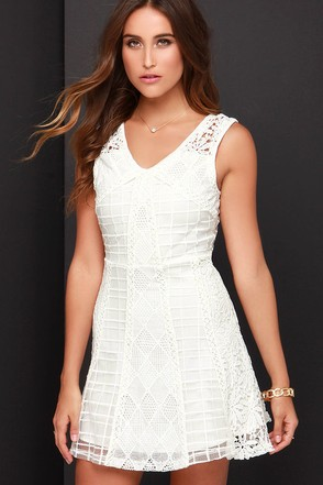 JOA Etched and Engraved Ivory Lace Dress at Lulus.com!