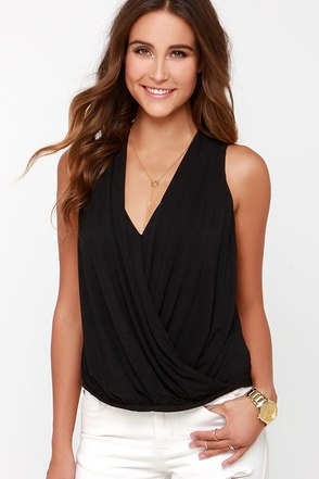 Twist and Make Up Black Tank Top at Lulus.com!