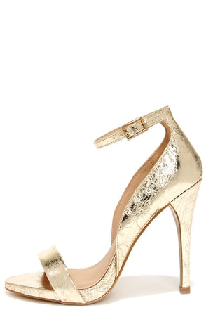 Kick Up Your Heels Gold Ankle Strap Heels at Lulus.com!