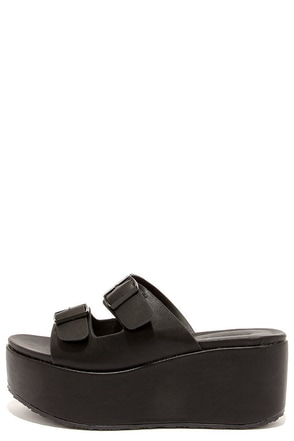 Cool Party Black Flatform Slide Sandals at Lulus.com!