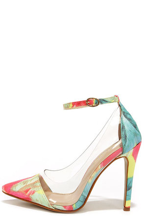 In the Clear Future Feather Multi Print Lucite Heels at Lulus.com!