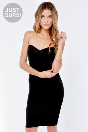 LULUS Exclusive Give Me a Bustier Black Bodycon Dress
