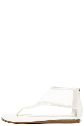 Sheer-Thirty White Mesh Ankle Cuff Thong Sandals at Lulus.com!