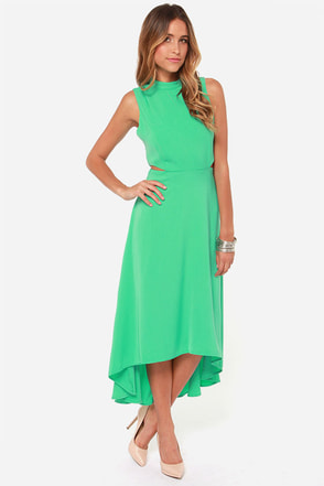 See You Swoon Cutout Sea Green High-Low Dress