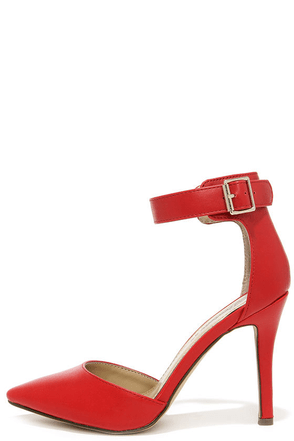 Point the Way Red Ankle Strap Heels at Lulus.com!