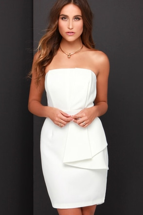 Pleased and Thank You Strapless Ivory Dress at Lulus.com!