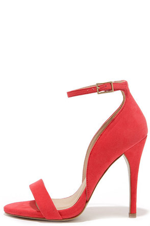 Kick Up Your Heels Red Suede Ankle Strap Heels at Lulus.com!