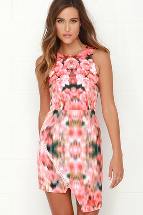 Finders Keepers Way to Go Coral Red Floral Print Dress at Lulus.com!
