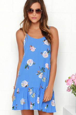 Mink Pink Summer Fling Blue Floral Print Shift Dress at Lulus.com!