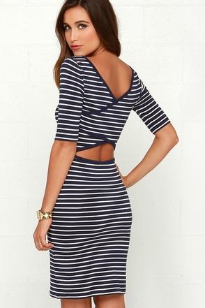 Black Swan Beverly Navy Blue Striped Dress at Lulus.com!
