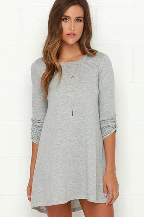 Symphony Light Grey Swing Dress at Lulus.com!