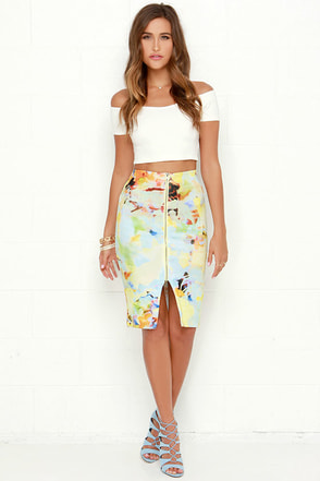 JOA Bold Move Yellow Print Pencil Skirt at Lulus.com!