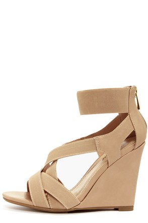Bamboo Royce 17 Nude Strappy Wedges