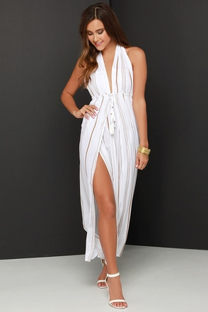 Faithfull the Brand Promenade Brown and Ivory Striped Maxi Dress at Lulus.com!
