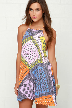 Mink Pink Sunset Patchwork Multi Print Halter Dress at Lulus.com!