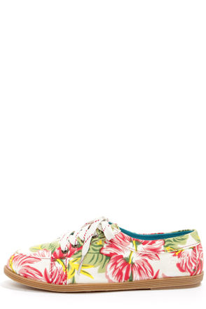 Blowfish Gesso Off White Tropical Print Lace-Up Sneakers