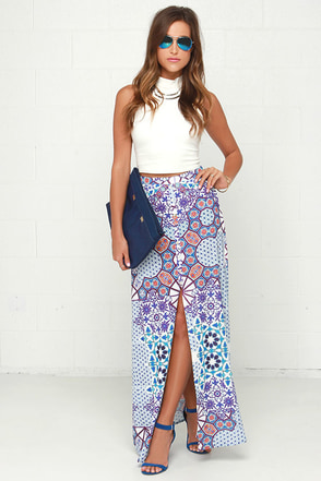 Mink Pink Whisper of the Heart Purple Print Maxi Skirt at Lulus.com!