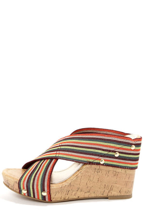 Madden Girl Nautic Bright Multi Striped Wedge Sandals