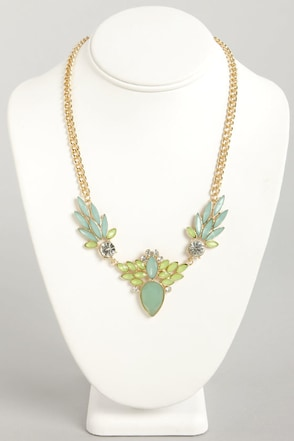 Frond of You Blue Rhinestone Necklace