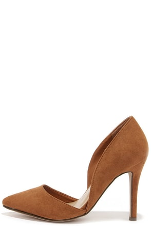 Suede to Order Tan Suede D'Orsay Heels at Lulus.com!