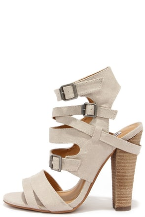 Not Rated Solana Taupe Peep Toe Caged Heels at Lulus.com!