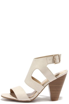 Streets of Milan Beige Caged Heels at Lulus.com!
