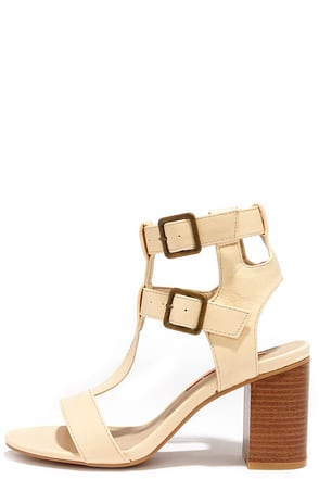 Show Business Beige Caged Heels at Lulus.com!